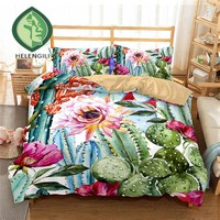HELENGILI 3D Bedding Set Tropical plants Print Duvet cover set lifelike bedclothes with pillowcase bed set home Textiles #RD-03