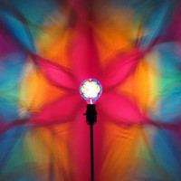 Hand-Painted Rainbow Flower of Life Mood-Light Bulb 4 Burning Man )*( Playa, Night Lights, Parties, Yoga, Dorm Room Lighting, Color Therapy!