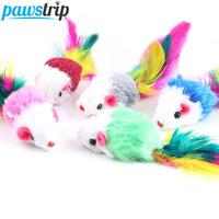 10Pcs/lot Soft Fleece False Mouse Cat Toys Colorful Feather Funny Playing Toys For Cats Kitten