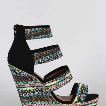 Qupid Abstract Print Strappy Caged Open Toe Platform Wedge