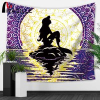 Miracille Mermaid Wall Tapestries Marine Whale Turtle Hippie Tapestry Bedroom Wall Art Hanging Decoration Home Table Cloth