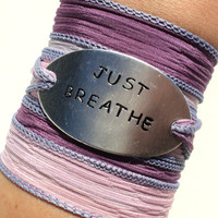 Silk Wrap Bracelet Yoga Jewelry Just Breathe Inspirational  Unique Gift For Her Teacher Christmas Stocking Stuffer Under 50 Item K43