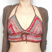Crochet Halter Style Crop Top in Red, Grey, Beige, US Size Small, Festival Wear, Summer Top, ready to ship.