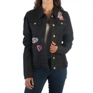 Harley Quinn DC Comics Black Juniors Denim Jacket