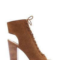 Suede Lace-Up Heels