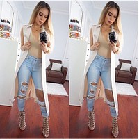 New Arrival ripped big hole tassels high waisted jeans washed full length denim pants trousers plus size women womans