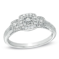 1/8 CT. T.W. Diamond Vintage-Style Three Stone Promise Ring in Sterling Silver