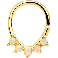 White Synthetic Opal Gold Tone Anodized Quintet Ellipse Septum Ring