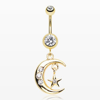 zzz-Golden Moon and Star Belly Button Ring