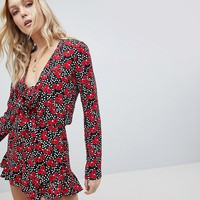 Glamorous Tall Romper With Frill Shorts And Bow Front In Cherry Blossom Polka Dot at asos.com