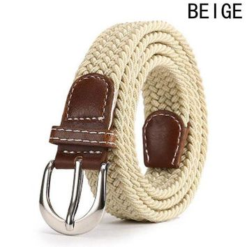 CREYLD1 Leather Buckle Luxury Canvas Belts Fashion Women Men Belt Top Quality 2.5 Cm Wide Woven Stretch Braided Elastic