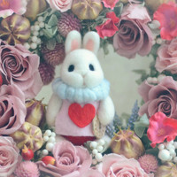 Alice in Wonderland White Rabbit doll with shadow box, needle felted bunny with flowers diorama, miniature rabbit figurine, gift under 50