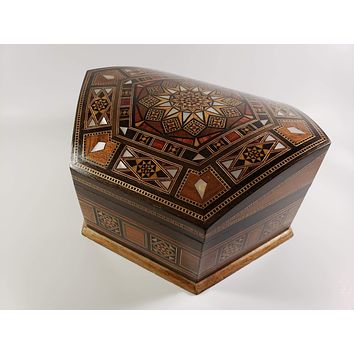 Wooden Marquetry Jewelry Box - Syrian Mosaic
