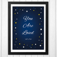 Night sparkly stars You are loved sweet newborn baby nursery print  INSTANT DOWNLOAD