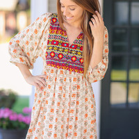 Fall for it Babydoll Dress-  Taupe