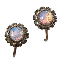 Opaline Earrings Vintage Rhinestone Round Gold Tone Screw Back e472