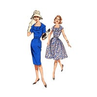 1960s Fitted Sheath Dress Pattern Butterick 9695 Plus Size Vintage Sewing Pattern Draped Buttoned Collar 40 Bust Size 20