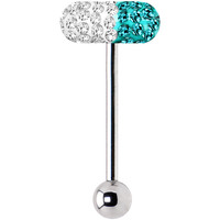 Clear Coat Blue Zircon Ferido Crystal Pill Barbell Tongue Ring | Body Candy Body Jewelry