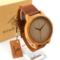 Men's Bamboo Wooden Wristwatches With Genuine Cowhide Leather Band Luxury Wood Watches for Men as Gifts Item