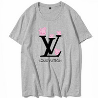 LV 2018 couple models men and women fashion pig page t shirt adult short sleeve Grey
