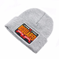 DSQUARED2 BURNIN CANADA Beanie Knitted Cotton Elastic Mens & Women's Casual Warm Winter Gray Cuffed Skully Hat