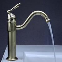 LightInTheBox Single Handle Vintage High Arc Victorian Bathroom Sink Faucet, Antique Brass