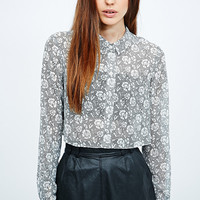Pins & Needles Lace Crop Shirt in Mono - Urban Outfitters