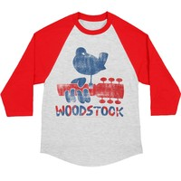 Woodstock Men's  Dove & Guitar Baseball Jersey Red/White