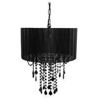 Black Drum Shaded One Bulb Chandelier