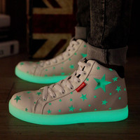Night elves fluorescent luminous women men casual shoes high glowing with lights up simulation sole for adults neon basket