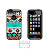 Otterbox Commuter Apple iPhone 5 5s Personalized Cell Phone Case Tribal Trendy Hipster Aztec Name Initial Monogram Protective Cover OB-1046