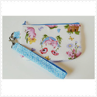 Baby piglets flocking around on this wristlet, zipper pouch, coin purse or cellphone case