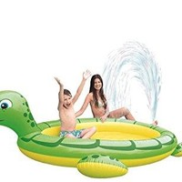 By PoolCentral 214 inch  Green and Yellow Inflatable Sea Turtle Children's Spray Pool