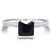 Sterling Silver 925 Princess Sapphire Cubic Zirconia CZ Solitaire Ring #r511