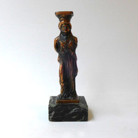 Vintage ancient Greek souvenir cast metal Caryatid maiden figurine from Acropolis