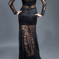 Black Label Couture 22 Long Sleeve Sheer Lace Illusion Evening Gown Prom Dress