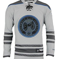 NHL Men's Columbus Blue Jackets Reebok Pewter Cross Check Premier Jersey
