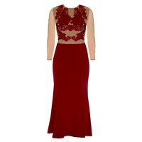 Sheer Decadence Maxi Evening Gown, Oxblood