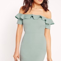 Missguided - Frill Bardot Bodycon Dress Green
