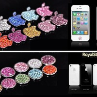 My Associates Store - HOT Royalstone Bling Home Button and Logo Sticker for Apple iPhone iPod Case Cover-Silver