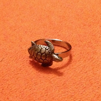 Silver Swimming Turtle Ring