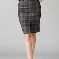 Plaid Front Slit Pencil Skirt