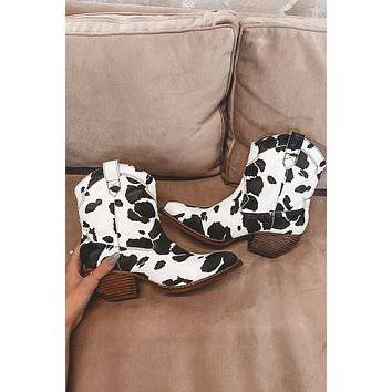 Don't Spot The Music Black Cow Print Booties
