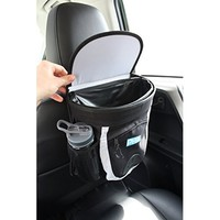 Zone Tech Black Vehicle Pop up Leakproof Trash Can Collapsible Universal Fit Car Hanging Garbage Bin