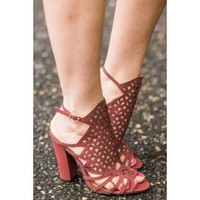 Uptown Girl Brick Red Caged Heels