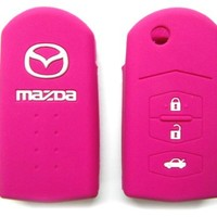 Pink Mazda Remote Key Silicone Cover 3 Buttons Case Holder (Single Pack) for Mazda 2 3 5 6 CX7 CX9
