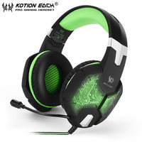 New EACH G1000 Deep Bass Gaming Headphone Stereo Surround Over Ear Headset 3.5mm+USB Headphones With Mic LED Light For PC Gamer