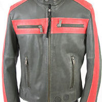 DIESEL 100% LEATHER Distressed Motorcycle Riding ZIP Jacket SIZE small Black Red
