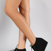 Bamboo Patch Work Wedge Booties