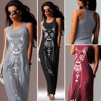 Fast sell through the fall of the cat, the cat Print Long Dress WJ308 vestidos